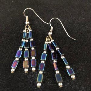 Czech Bugle Bead Earrings Blue  Iridescent